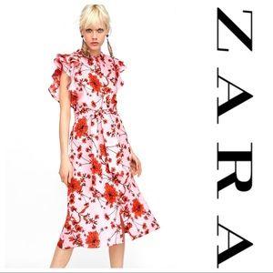 ZARA • Floral Midi dress